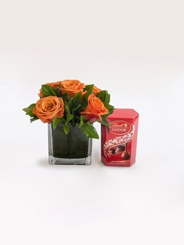 Snack & Gift Hampers: Orange Rose Lindor Treat with 50g Lindt Lindor